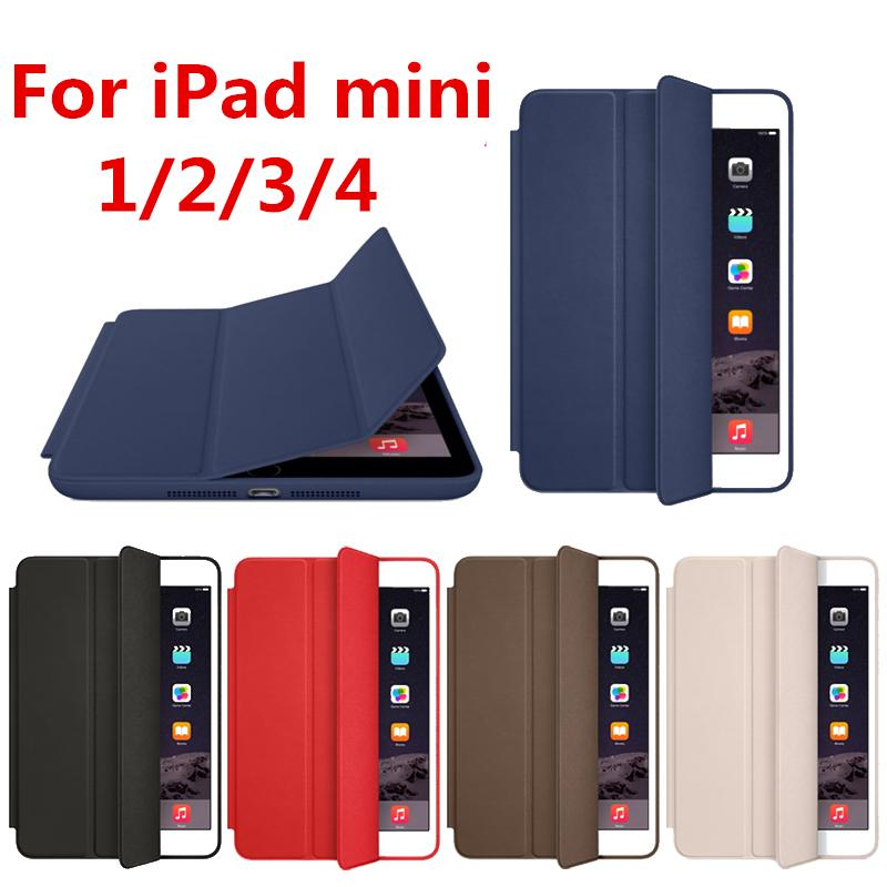 все цены на  With LOGO Funda Smart Cover for Apple IPad Mini Case Leather Magnetic Case for IPad Mini 1 2 3 4 Retina Case Original Wake Up  онлайн