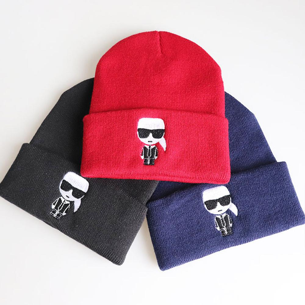 2019 Fashion Karl Beanie Hats Unisex Cartoon Solid Hip-hop Cap Skullies Knitted Winter Hat Outdoor Casual Sport Warm Cap