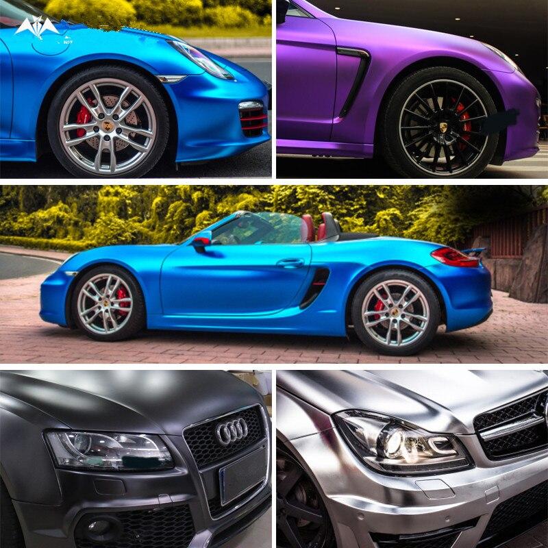 2 pièces 50*150 cm électro-revêtement Film de carrosserie de voiture changement de couleur Viny Wrap extérieur intérieur style autocollants pour Audi VW Honda BMW