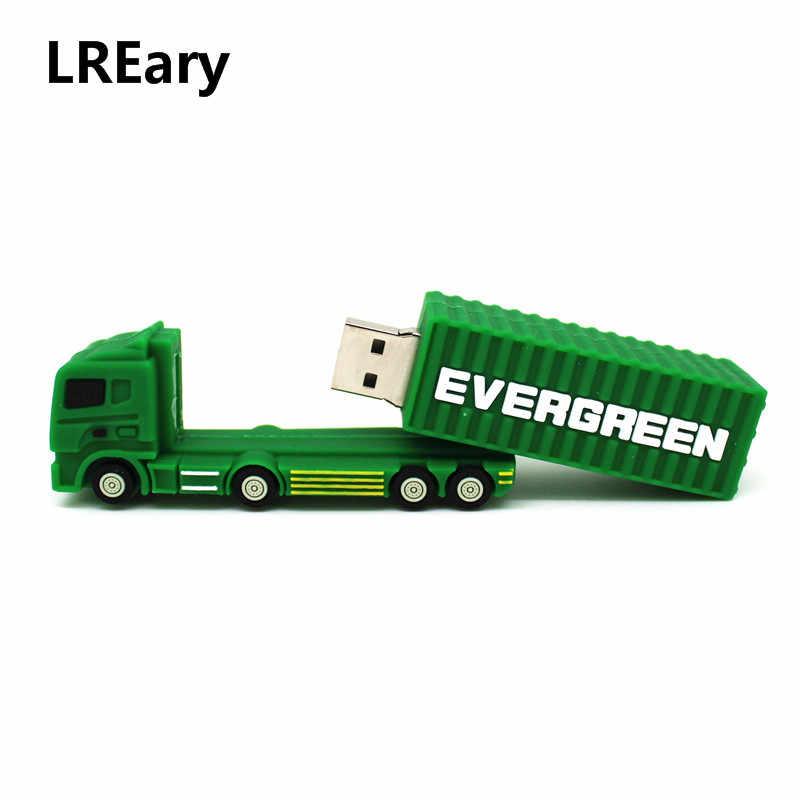 Мультфильм зеленый грузовик модель карта памяти, Флеш накопитель грузовик/грузовой поезд, usb флэш-накопитель Флешка 128MB 4GB 8GB 16GB 32G 64GB