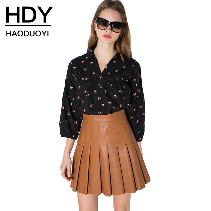 HDY Haoduoyi 2019 Fashion PU Skirts Women High Waist Female A-line Skirts Sweet Preppy Style Solid Pleated Ladies Skirts
