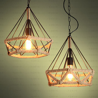 Creative Type Hanging Lamp Retro LOFTER Industrial Wind Bar Cafe Network Iron Rope Diamond Pendant Cover