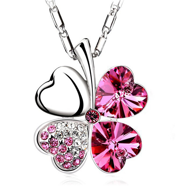 Four Crystal Leaves Pendants & Necklaces