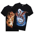 Factory Price! Stylish Men 3D Animal Print Skull Tiger Wolfs Crew Neck Top Tee T-Shirt