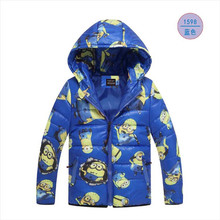 2016 Fashion Boys Minion Winter Coats&Jacket,Children Clothing Warm hooded kids jackets Girls coat Winter jacket 4-8T 3Colors