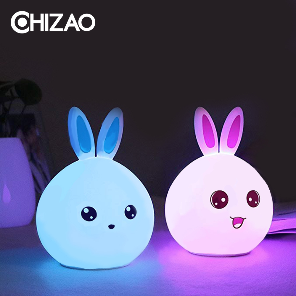 CHIZAO LED RGB Water Droplets Silicone Night Light Mini Baby Bedside Lamp Sleep Light Children Color Gift Atmosphere Light