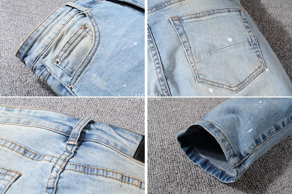 Men's Skinny Blue Destroyed Distressed Jeans 2