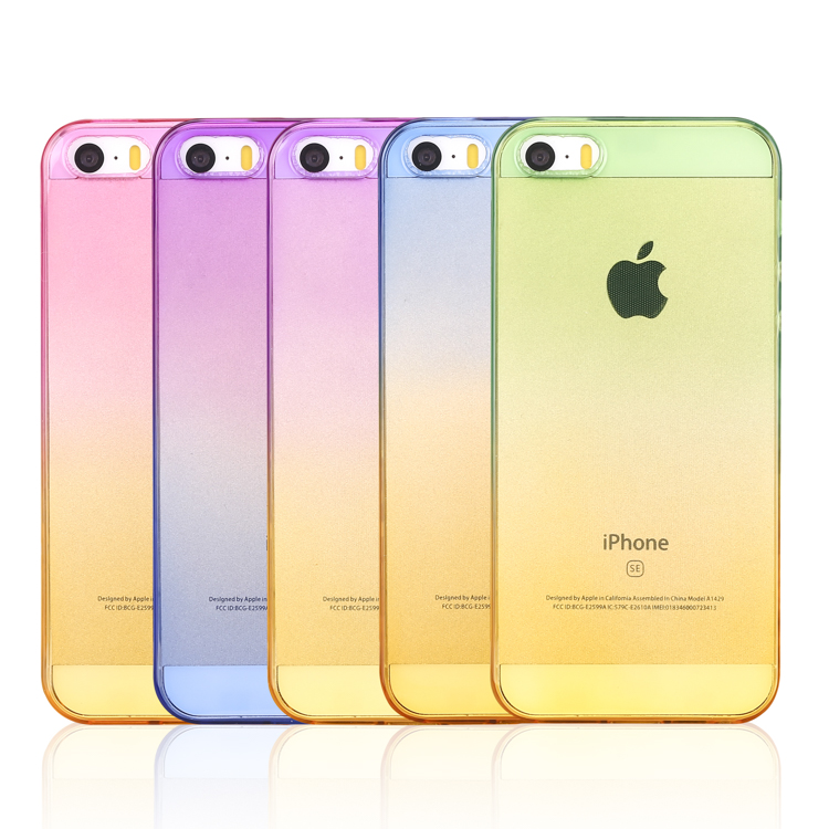 transparent gradual change colorful tpu case rubber cover
