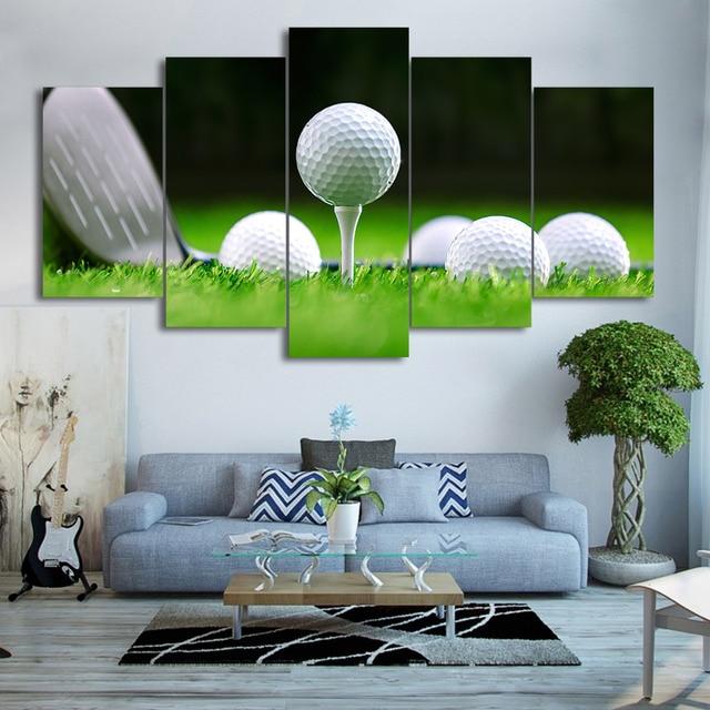 moderne wohnzimmer wandkunst leinwand hd gedruckt bilder rahmen 5 stcke golfplatz malerei wohnkultur golfblle poster pengda - Modernes Wohnzimmer Wandkunst