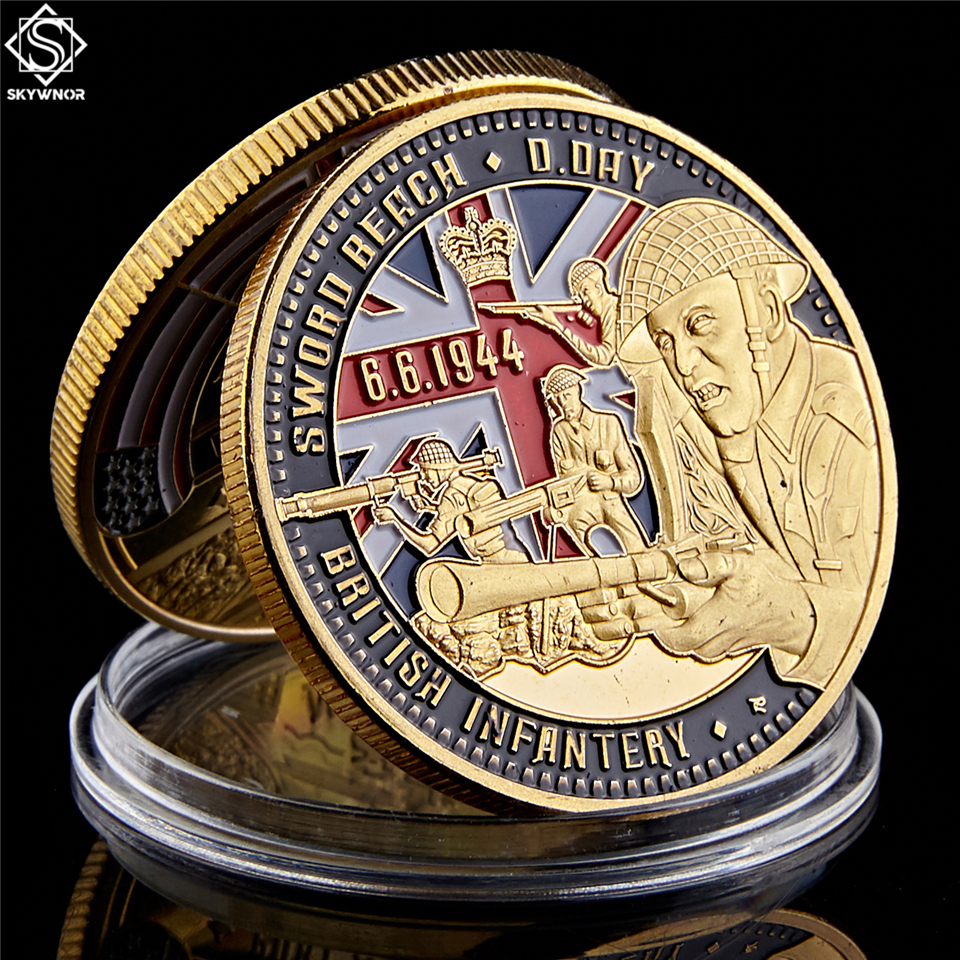 British Infantry Challenge Coin D-DAY 50th Northumbrian Infantry Gold Plated Coin Gold Beach Military Souvenir Coin