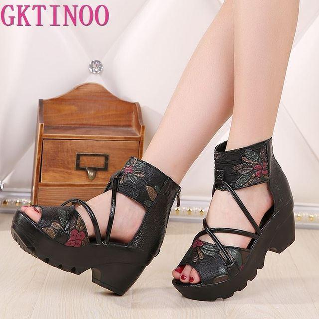 2020 Style ethnique en cuir véritable femmes chaussures sandales sandales à talons compensés à la main en cuir véritable personnalisé femmes sandale