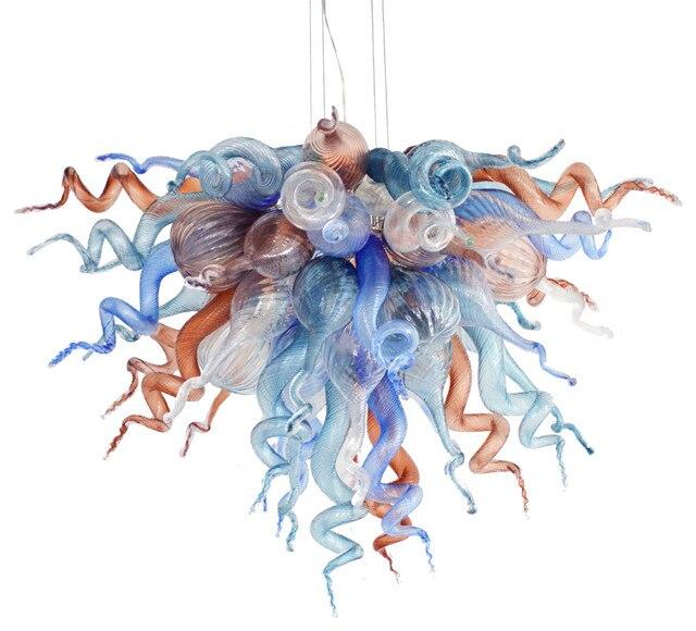 2018 nouveauté lustres LED lumières couleur Dimmable soufflé à la main Art verre plafond lustre