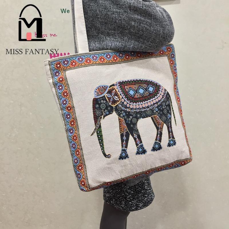 Women bag canvas handbag embroidery elephant printed beach