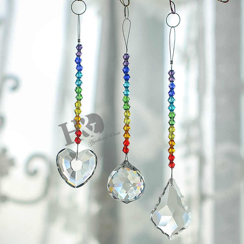 H&D Rainbow Chandelier Crystals Prisms Rainbow Chakra Suncatcher with Beads  Decorating Hanging Ornament,Set of 3,Home Decoration