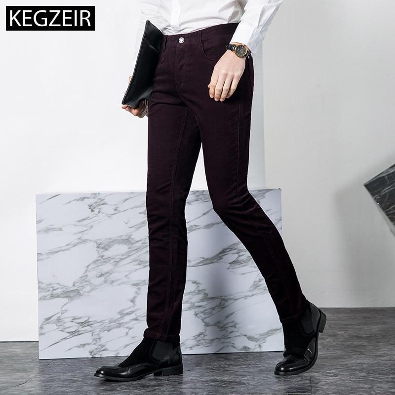 KEGZEIR 2019 New Winter Corduroy Pants Men Slim Zipper Men Trousers Casual Stretch Warm Korean Pants Men Big Size Broek Mannen
