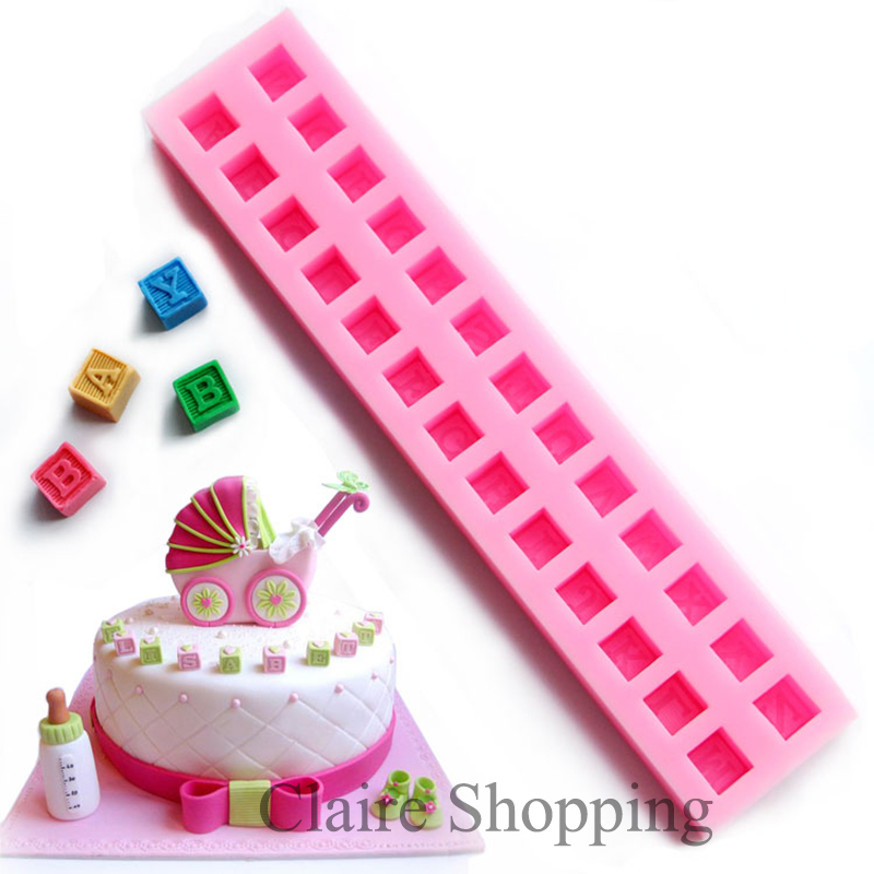 Yueyue Sugarcraft Baby alphabet block silicone cake mold fondant mold cake decorating tools chocolate gumpaste mold
