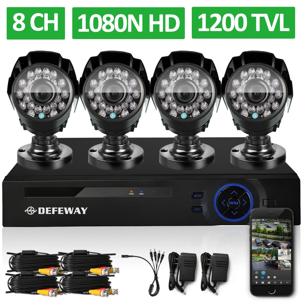 DEFEWAY 8 Channel 1080N DVR 1200TVL 720P HD Outdoor font b Security b font Camera System