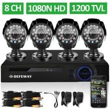 DEFEWAY 1080N de 8 Canales DVR Seguridad 1200TVL 720 P HD Al Aire Libre Sistema de la cámara 8CH HDMI DVR Kit de Vigilancia CCTV AHD Cámara conjunto