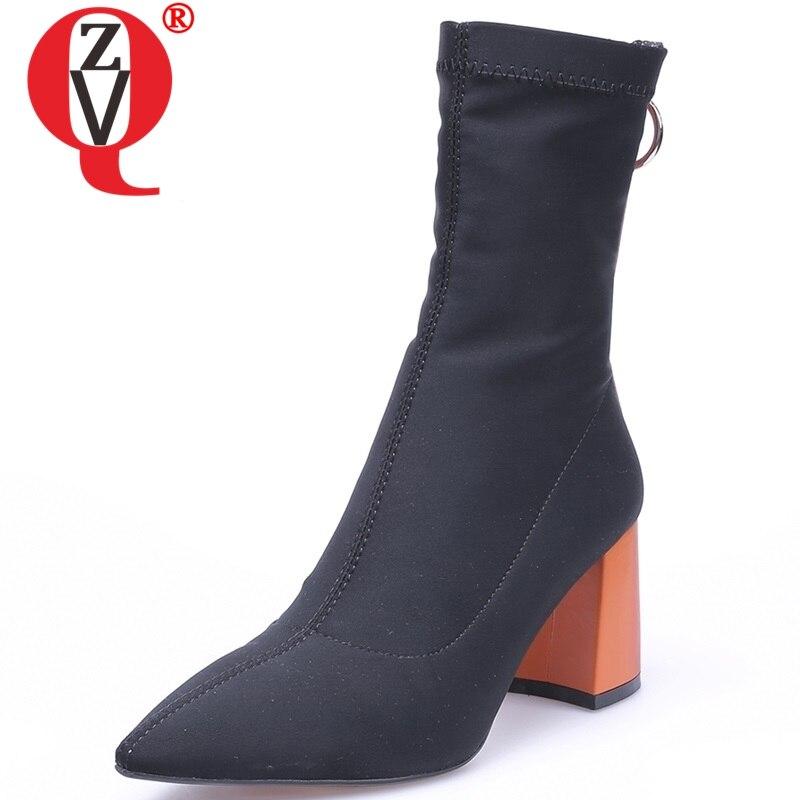 b0b910814aca2 Chaud Offre Chaussures Black Zvq Travail Mode Haut Mi orange Lycra Talons  Zip Hiver Bout Populaire Pointu Spéciale mollet Concise Sabot Femmes Bottes  ...