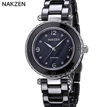 2017NAKZEN Top Brand Luxury Black Authentic Diamond  Quartz Watch Waterproof Ladies Switzerland Import Movement Watch