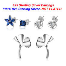 100% 925 Sterling Silver Flower Stud Earring Vnistar Clover Ear Studs Wholesale Ginkgo Stud Earrings for Women(China)