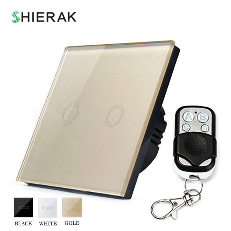 SHIERAK Remote Control Wall Light Touch Switch 2 Gang EU Standard Crystal Glass Panel Touch Control Switch White/Black/Gold home automation wall light switch eu standard 220v 3gang white crystal glass panel remote control touch light switch with led