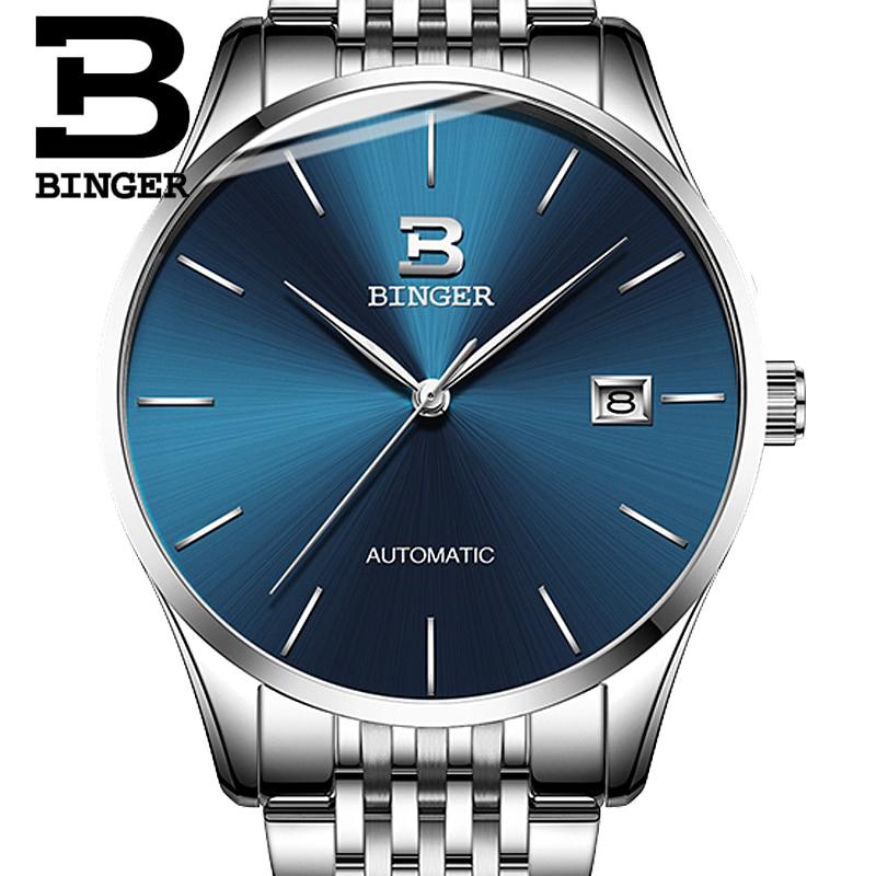Genuine Switzerland BINGER Brand Men Luxury full steel automatic mechanical male business simple ultrathin watch calendar