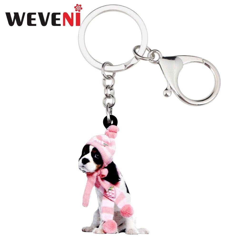 WEVENI Acrylic Sweet Cavalier King Charles Spaniel Dog Key Chains Keychain Rings Bag Car Charms Anime Jewelry For Women Girls