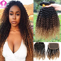 Ombre Brazilian Virgin Hair Closure Brazilian Curly Hair With Closure Blonde Bundles With Closure Ombre Human Hair With Closure