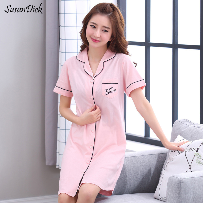 SusanDick Korean Ladies   Sleepshirt   Spring Summer Cotton   Nightgown   Short Sleeve Women Cardigan Home Casual Dress Cute Sleepwear