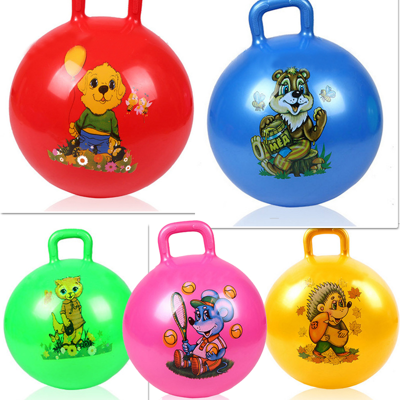 bouncing ball Inflatable toys for children baby grasping the ball bouncing ball handle the ball toy Random pattern and color