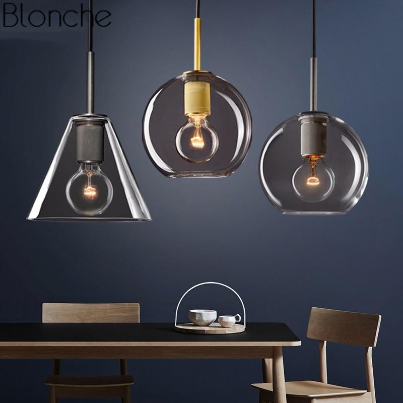 Nordic Glass Led Pendant Lights Loft Industrial Modern Hanging Lamp for Living Room Bedroom Kitchen Light Fixtures Luminaire E27