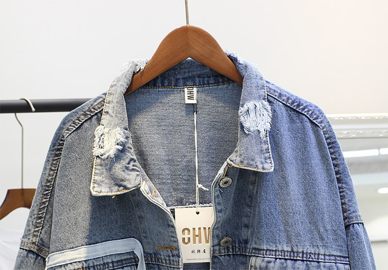 Patch Designs Sleeve Long Printed Women Plus Clothing Letter Female Denim Size Blue Jeans Bonu Jacket Spring Autunmn qXISC