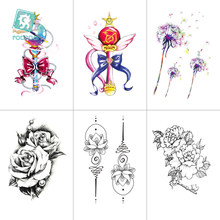 Temporary Tattoo Black Flower Tattoo Sleeves Water Transfer Tatoo Sticker Rose Lotus Tattoos Body Art Sexy Tatoo Girl Arm Tatto(China)