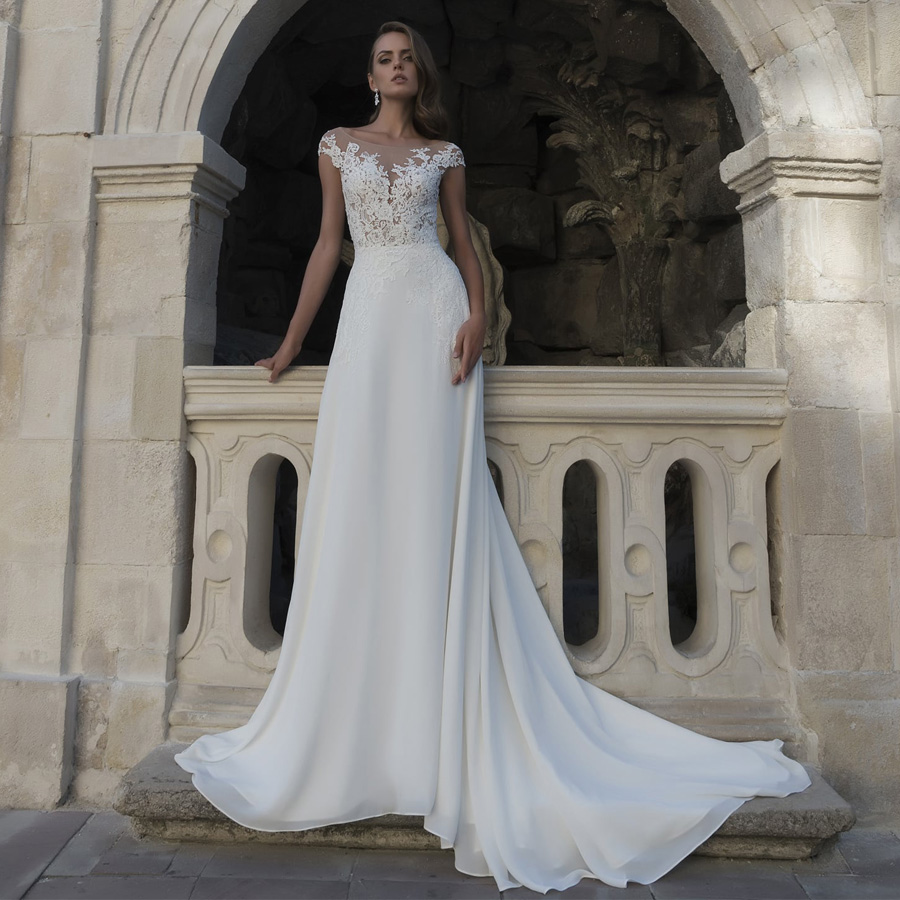 ADLN Cheap Scoop Chiffon Wedding Dresses Custom Cap Sleeve Lace Applique Beach Boho Wedding Dress robe de mariee Plus Size