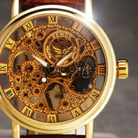 2015 New Fashion Retro Thin Case Mechanical Hand Wind Men Casual Leather Strap Wristwatches Classic Skeleton