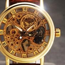 2016 Nouvelle Main Vent Squelette Hommes de Montres Vintage Robe Reloj De Luxe Ultra Mince Cadran Bande de Cuir Mécanique Montre Sport horloge