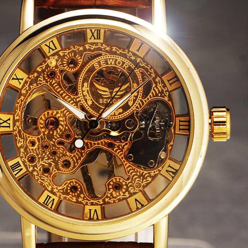 SEWOR New Hand Wind Skeleton Men's Watches Vintage Dress Reloj Luxury Ultra Thin Dial Leather Band Mechanical Watch Sports Clock sewor c1257