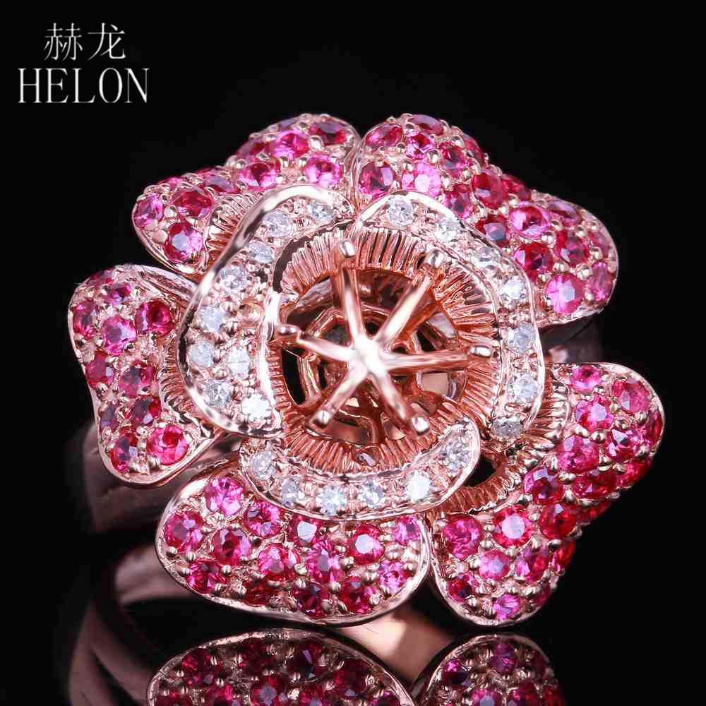 HELON Diamonds & Ruby Semi Mount 6mm Round Cut Solid 10K Rose Gold Engagement Fine Ring Wedding Gemstone Diamonds Ring Jewelry helon solid 10k rose gold 6mm round cut semi mount engagement anniversary band pave natural diamonds wedding fine jewelry ring