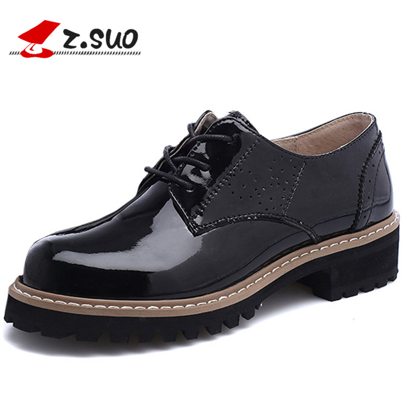 Z.Suo Casual Genuine Leather Women's Flat Shoes Fashion Spring And Autumn Lace-up Solid Female Moccasin zapatos de muje ZS18202N sen лодка чай черный чай лапсанг сушонг чай wu yishan no 1 box 144g