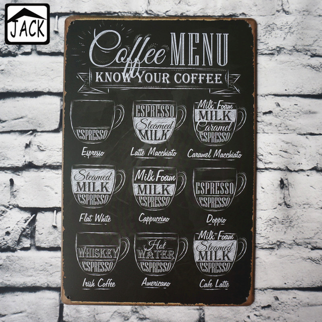 Coffee Menu Know Your Coffee Cafe Shop Wall Decor Tin Plate Poster Advertising Plaque 20X30CM Metal & Coffee Menu Know Your Coffee Cafe Shop Wall Decor Tin Plate Poster ...