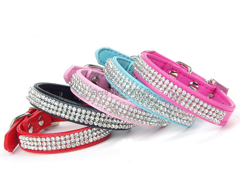 New Leather 3 Rows Rhinestone Bling Leather Pet Dog Collar with Buckle Crystal Puppy Cat Collars XS S M L