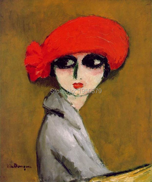 India alami abstrak wanita cantik mata besar mulut kecil topi merah lukisan  dekoratif ad1f8115da
