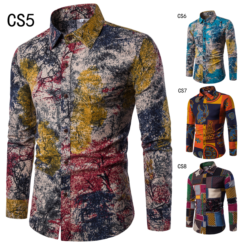 5XL Autumn new fashion flower printed long sleeve shirts men camisa male slim flower shirts vintage Linen Casual Men Shirt MQ647