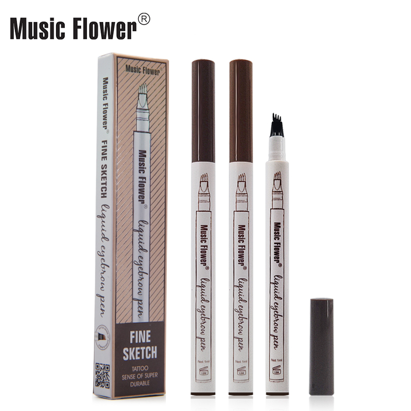 Music Flower Waterproof Microblading Eyebrow Tattoo Ink Pen Ultra-thin Carving Eyebrow Tattooing Pencil Sweat-proof 4 Head Fork