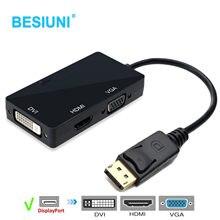 Besiuni adaptador 3 em 1, conversor dp para hdmi dvi, cabo adaptador vga, 1080p, porta de exibição, conector para pc projetor portátil hdtv