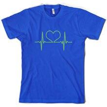 Heartbeat Heart - Mens T-Shirt Love Beat 10 Colours Free UK P&P Print T Shirt Short Sleeve Hot Tops Tshirt