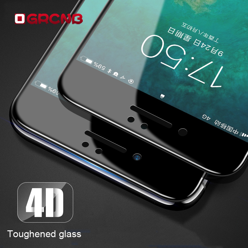 Galleria fotografica 4D Full Cover Film For iPhone 7 8 6 6s Tempered Glass 4D Curved Edge For iPhone 6 6s 7 8 Plus Screen Protector Glass