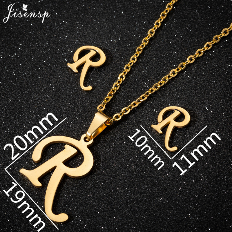 Jisensp Personalized A-Z Letter Alphabet Pendant Necklace Gold Chain Initial Necklaces Charms for Women Jewelry Dropshipping 36