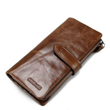 New luxury Card Holder Men Wallets Business Leather Long Design Quality Fashion Casual Purse Zipper Multi-function